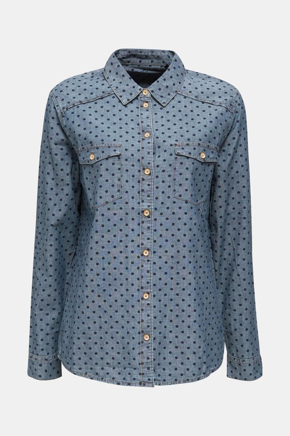 Denim shirt blouse with print, 100% cotton, BLUE MEDIUM WASH, detail image number 6