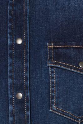 Stretch denim shirt with flap pockets, BLUE DARK WASH, detail