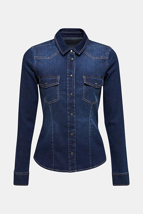 Stretch denim shirt with flap pockets