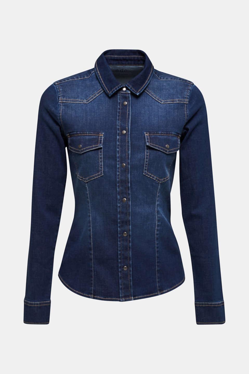 Stretch denim shirt with flap pockets, BLUE DARK WASH, detail image number 6