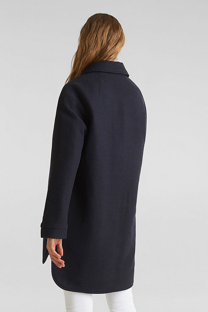 Made of blended wool: padded shirt jacket, NAVY, detail image number 3