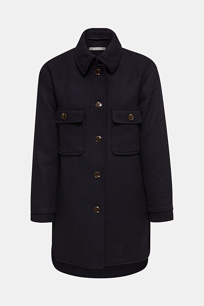 Made of blended wool: padded shirt jacket