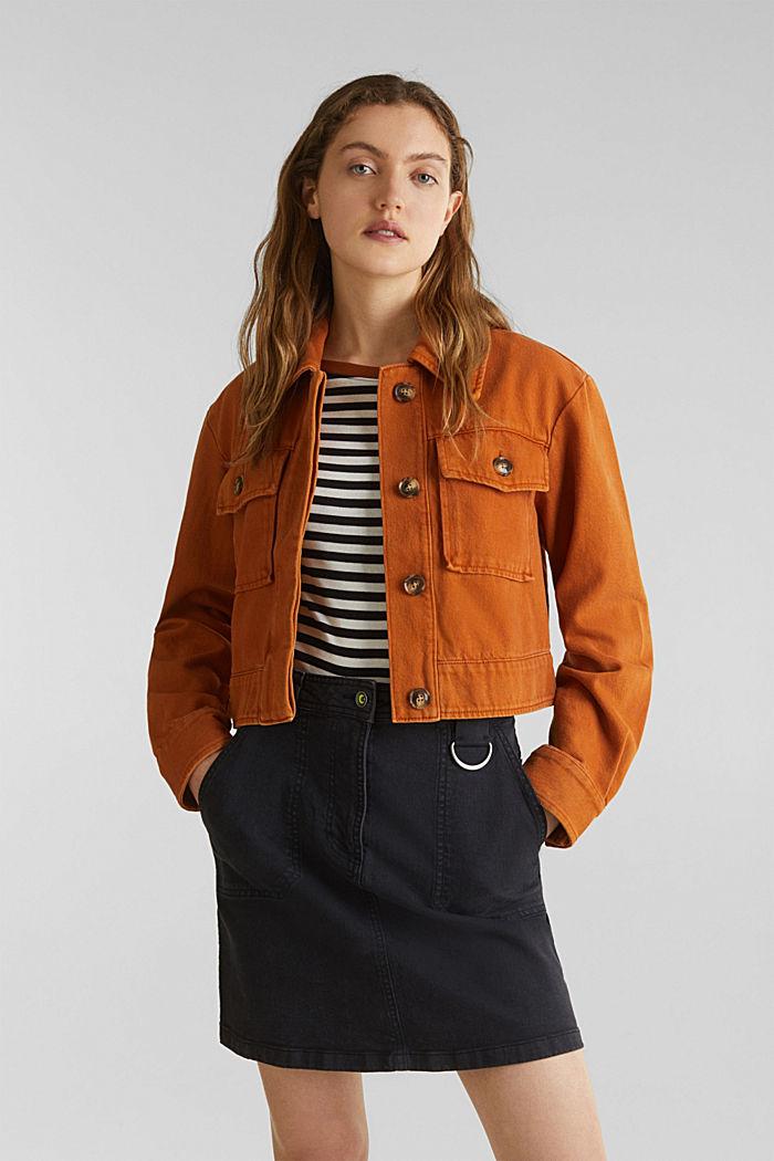 Kurze Twill-Jacke mit Taschen, CINNAMON, detail image number 0