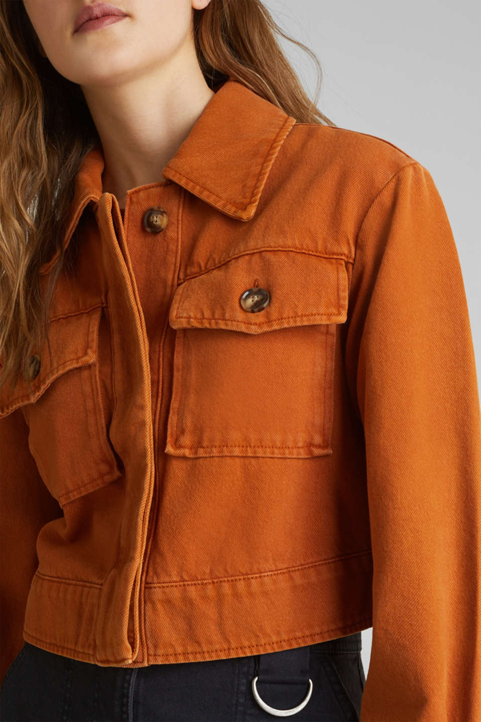 Short twill jacket with pockets, CINNAMON, detail image number 2