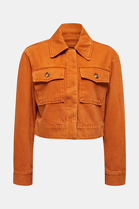 Short twill jacket with pockets