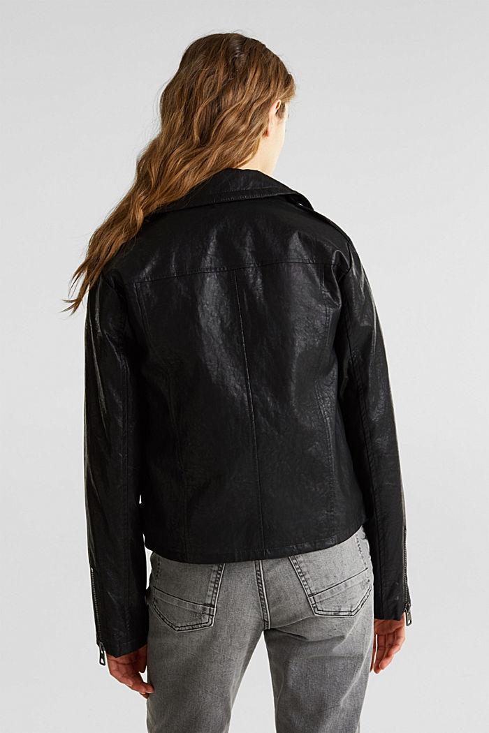 Biker jacket in shimmering faux leather, BLACK, detail image number 3