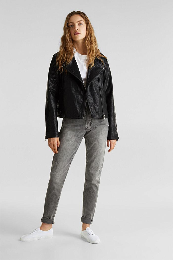 Biker jacket in shimmering faux leather, BLACK, detail image number 1