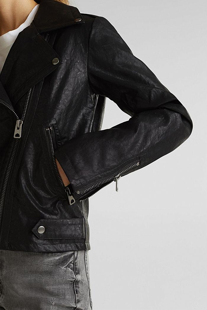 Biker jacket in shimmering faux leather, BLACK, detail image number 2