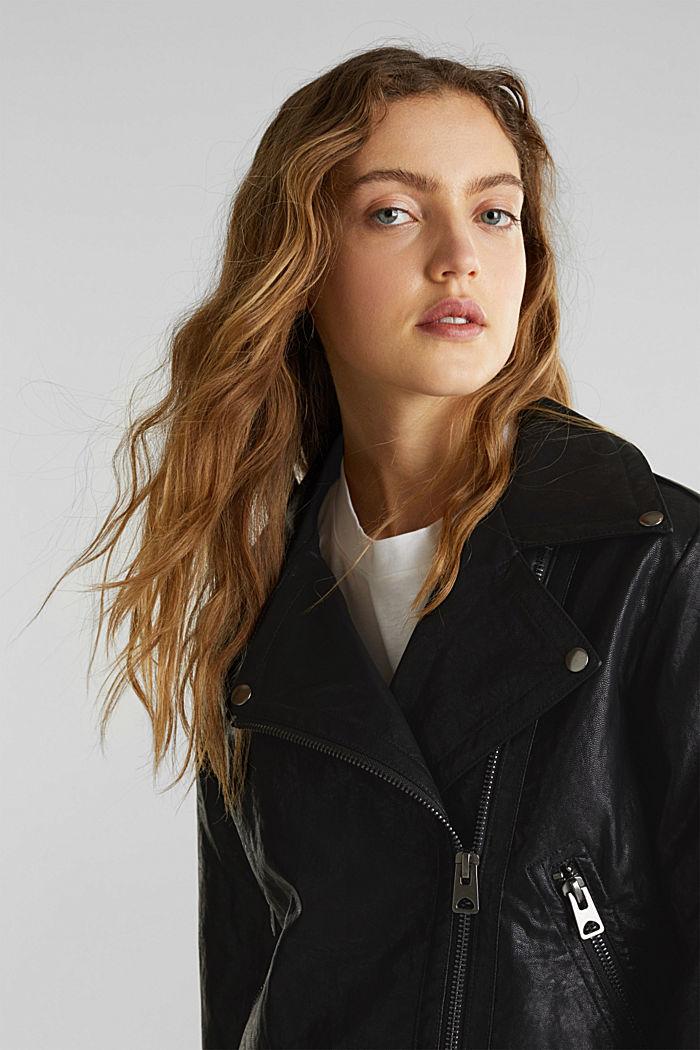 Biker jacket in shimmering faux leather, BLACK, detail image number 5