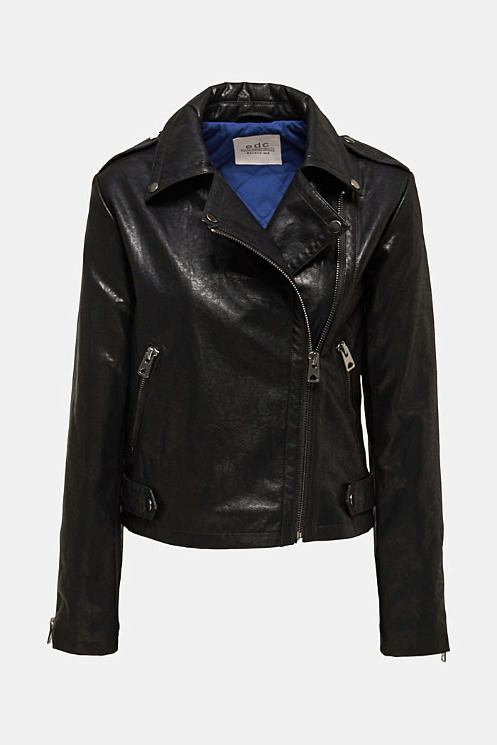 Biker jacket in shimmering faux leather