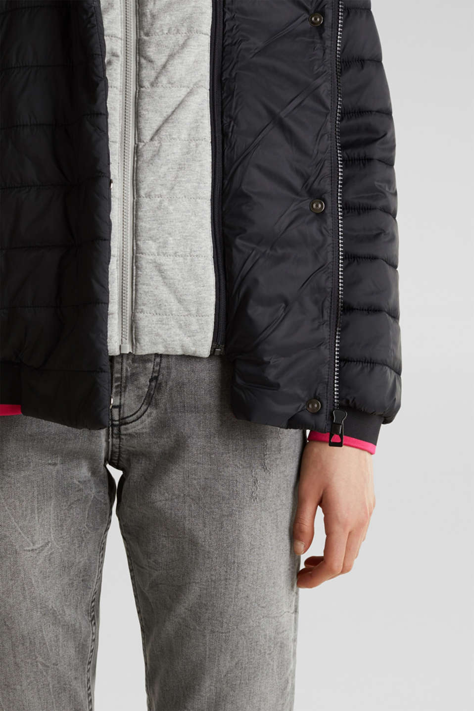 Two-in-one quilted jacket with an adjustable hood, BLACK, detail image number 4