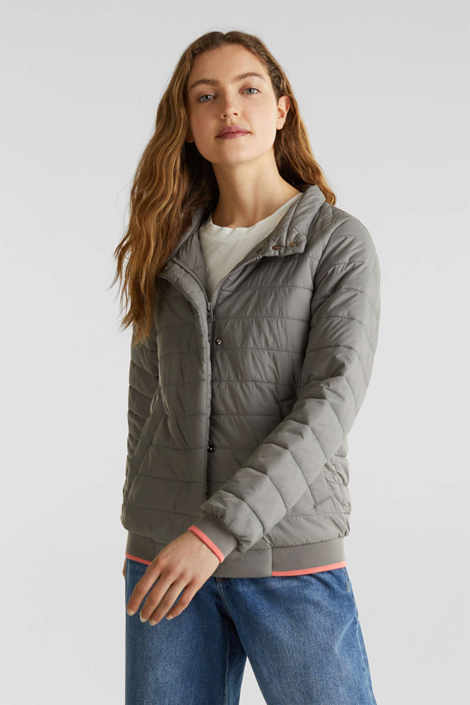 edc - Two-in-one quilted jacket with an adjustable hood