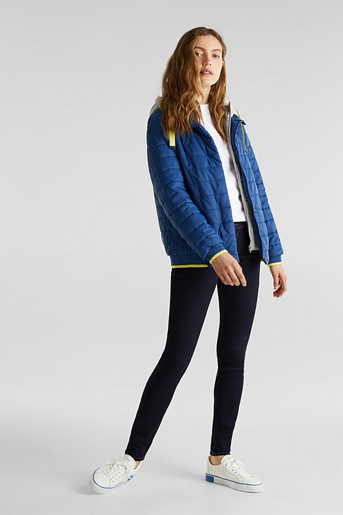 Two-in-one quilted jacket with an adjustable hood, DARK BLUE, detail image number 1