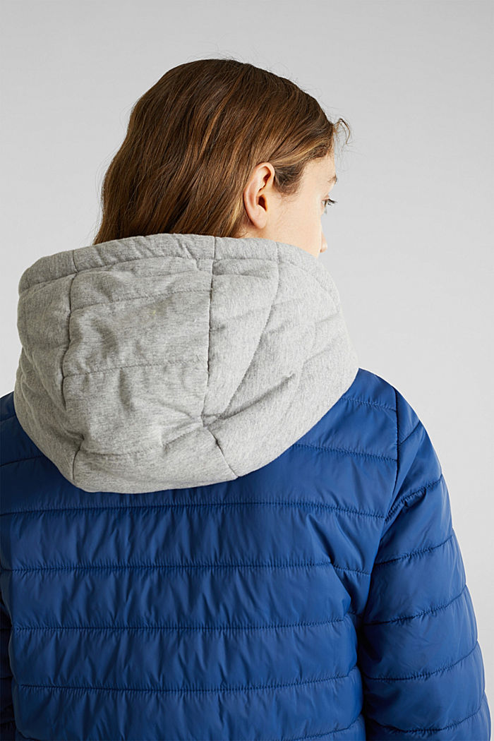 Two-in-one quilted jacket with an adjustable hood, DARK BLUE, detail image number 2