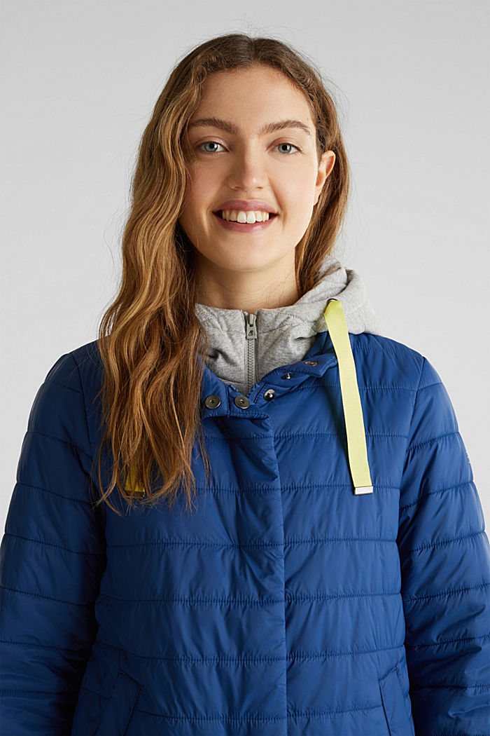 Two-in-one quilted jacket with an adjustable hood, DARK BLUE, detail image number 6