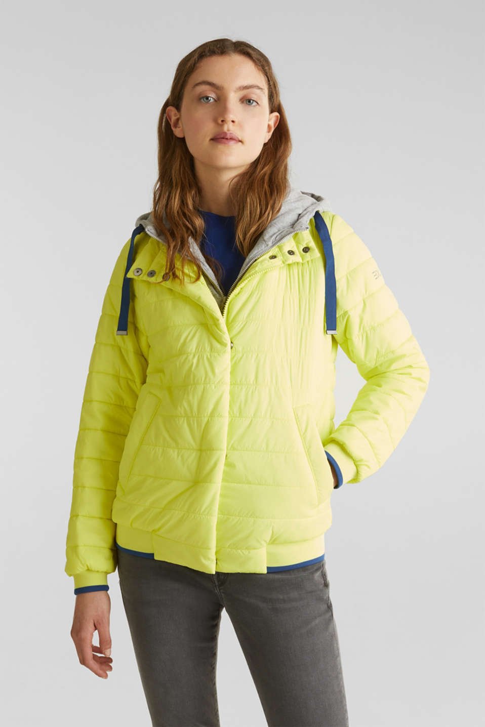 Two-in-one quilted jacket with an adjustable hood, LIME YELLOW, detail image number 0