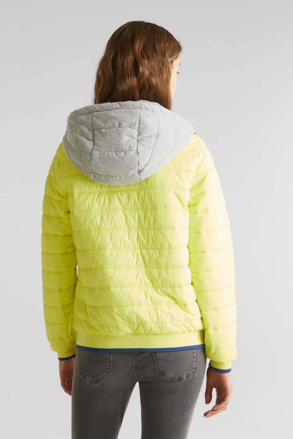 Two-in-one quilted jacket with an adjustable hood, LIME YELLOW, detail image number 3