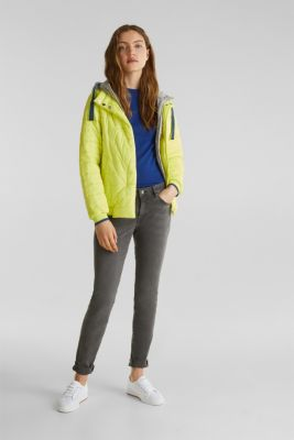 Two-in-one quilted jacket with an adjustable hood, LIME YELLOW, detail