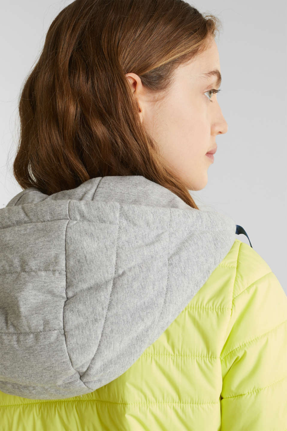 Two-in-one quilted jacket with an adjustable hood, LIME YELLOW, detail image number 2