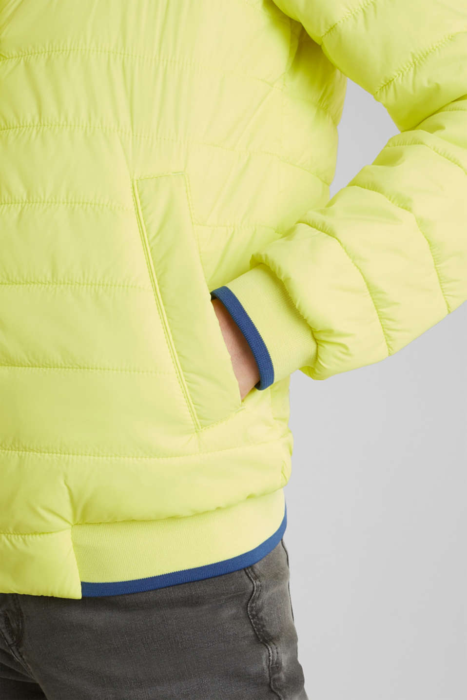 Two-in-one quilted jacket with an adjustable hood, LIME YELLOW, detail image number 5