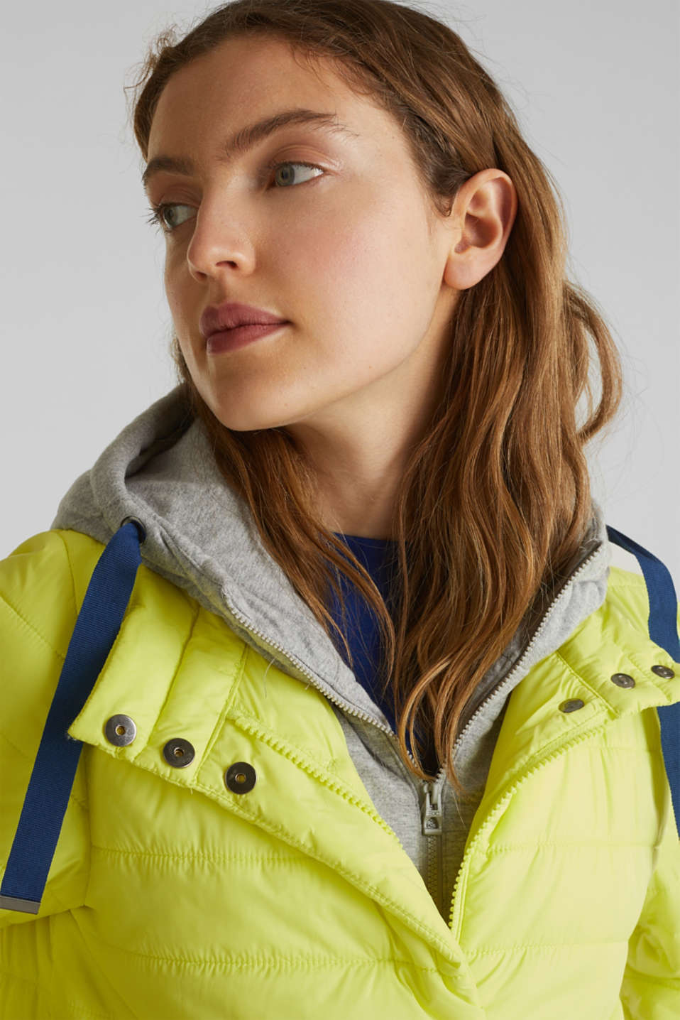 Two-in-one quilted jacket with an adjustable hood, LIME YELLOW, detail image number 6
