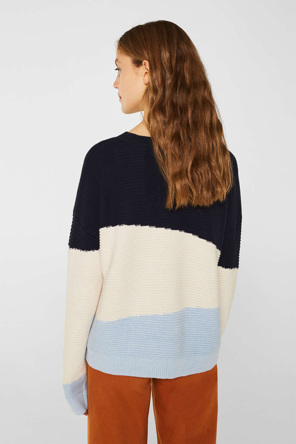 Textured colour block jumper, NAVY 2, detail image number 3