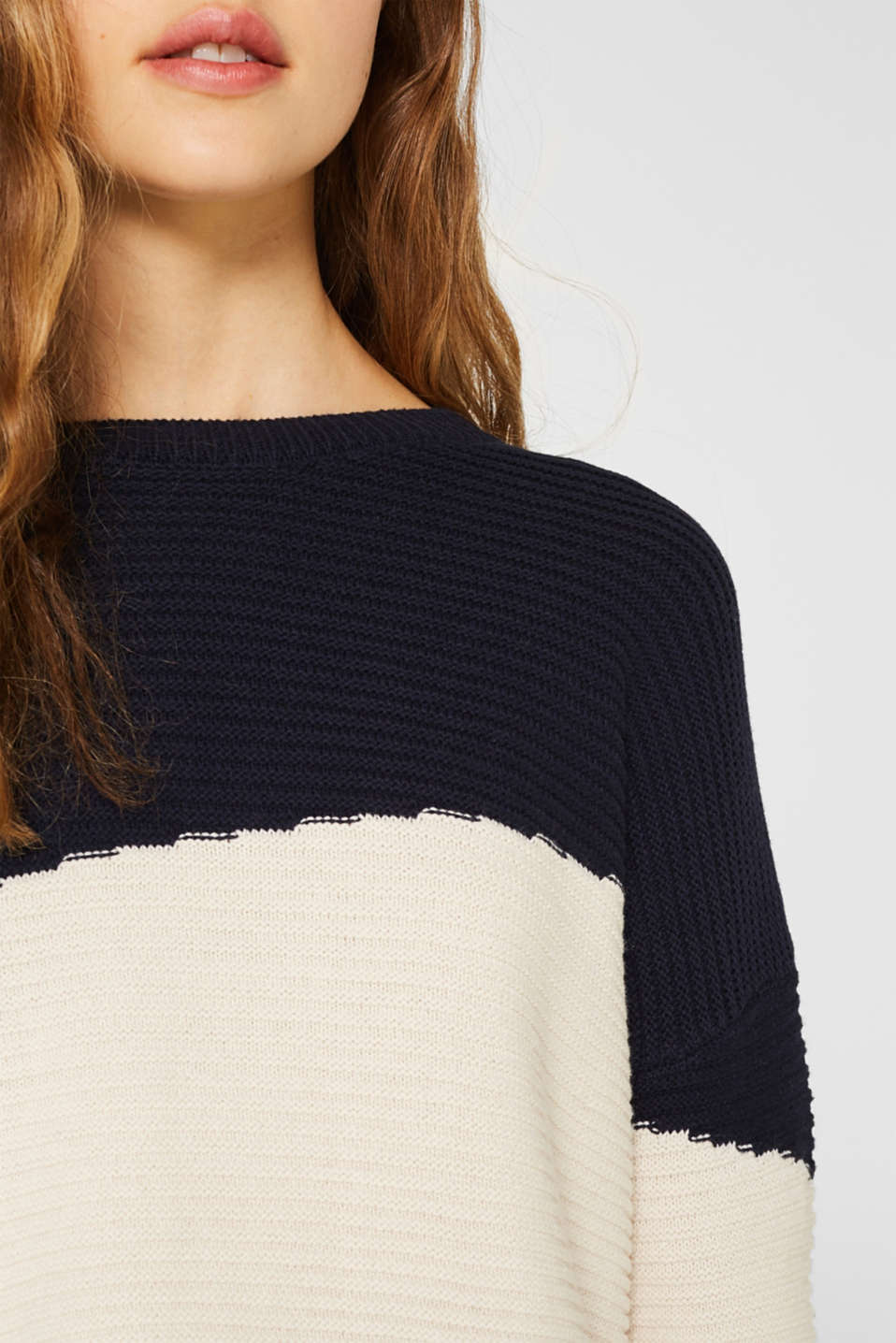 Textured colour block jumper, NAVY 2, detail image number 2