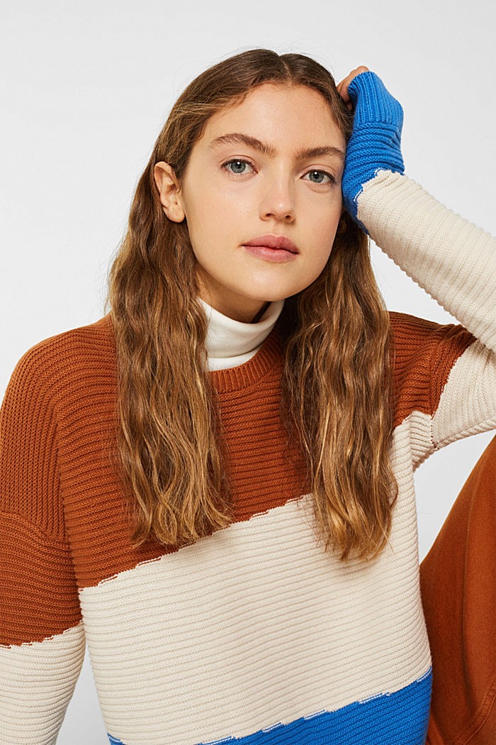 Textured colour block jumper, CINNAMON, detail image number 0