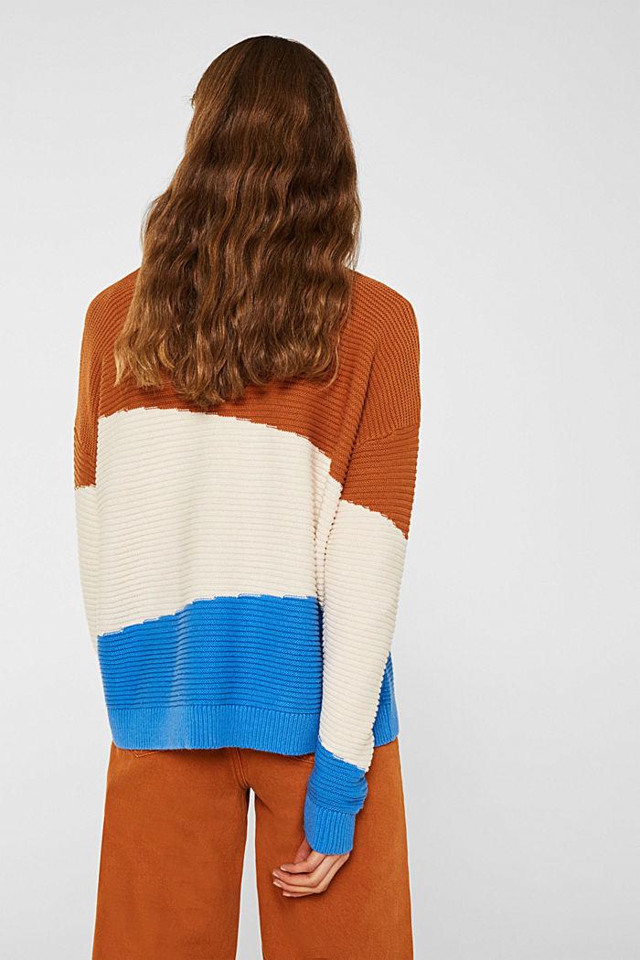 Textured colour block jumper, CINNAMON, detail image number 3