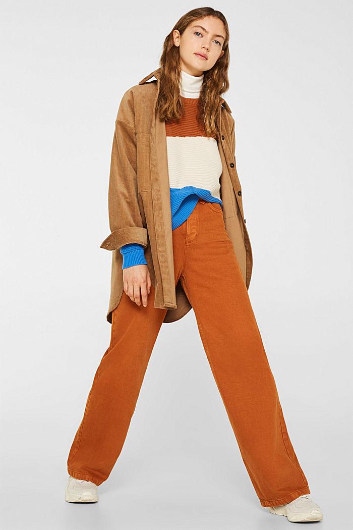 Textured colour block jumper, CINNAMON, detail image number 1