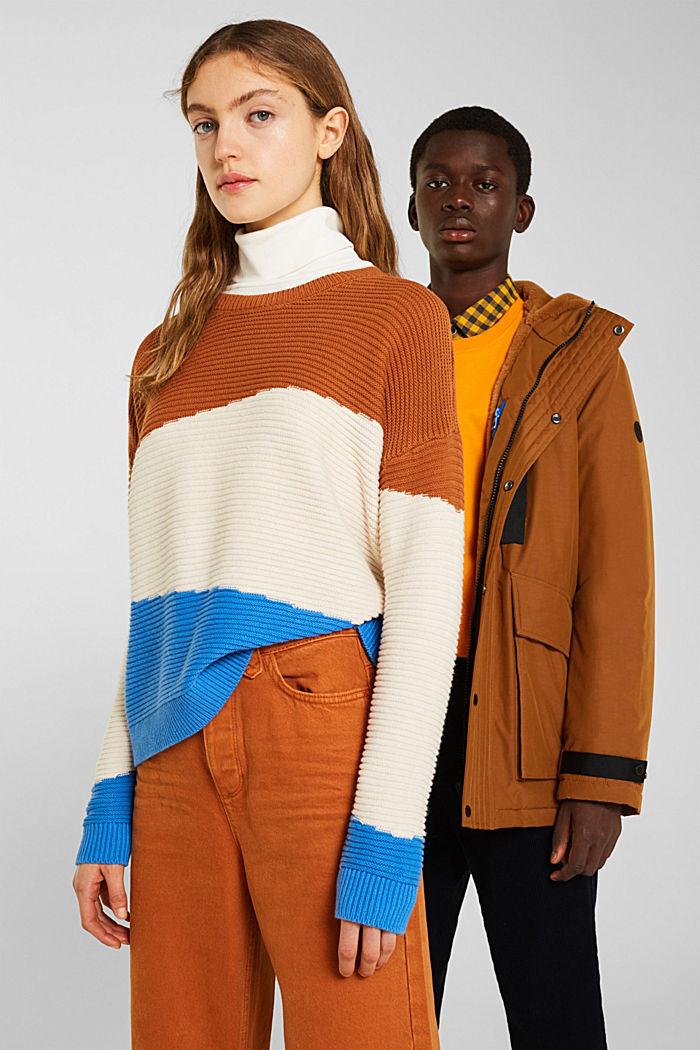 Textured colour block jumper, CINNAMON, detail image number 5