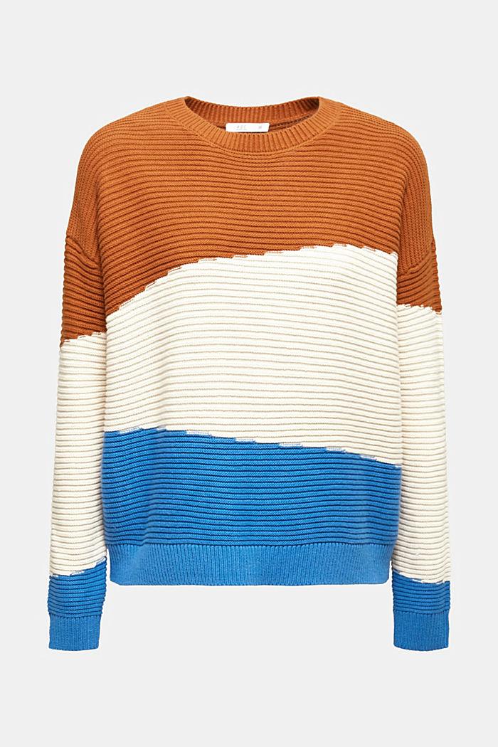 Textured colour block jumper, CINNAMON, detail image number 6