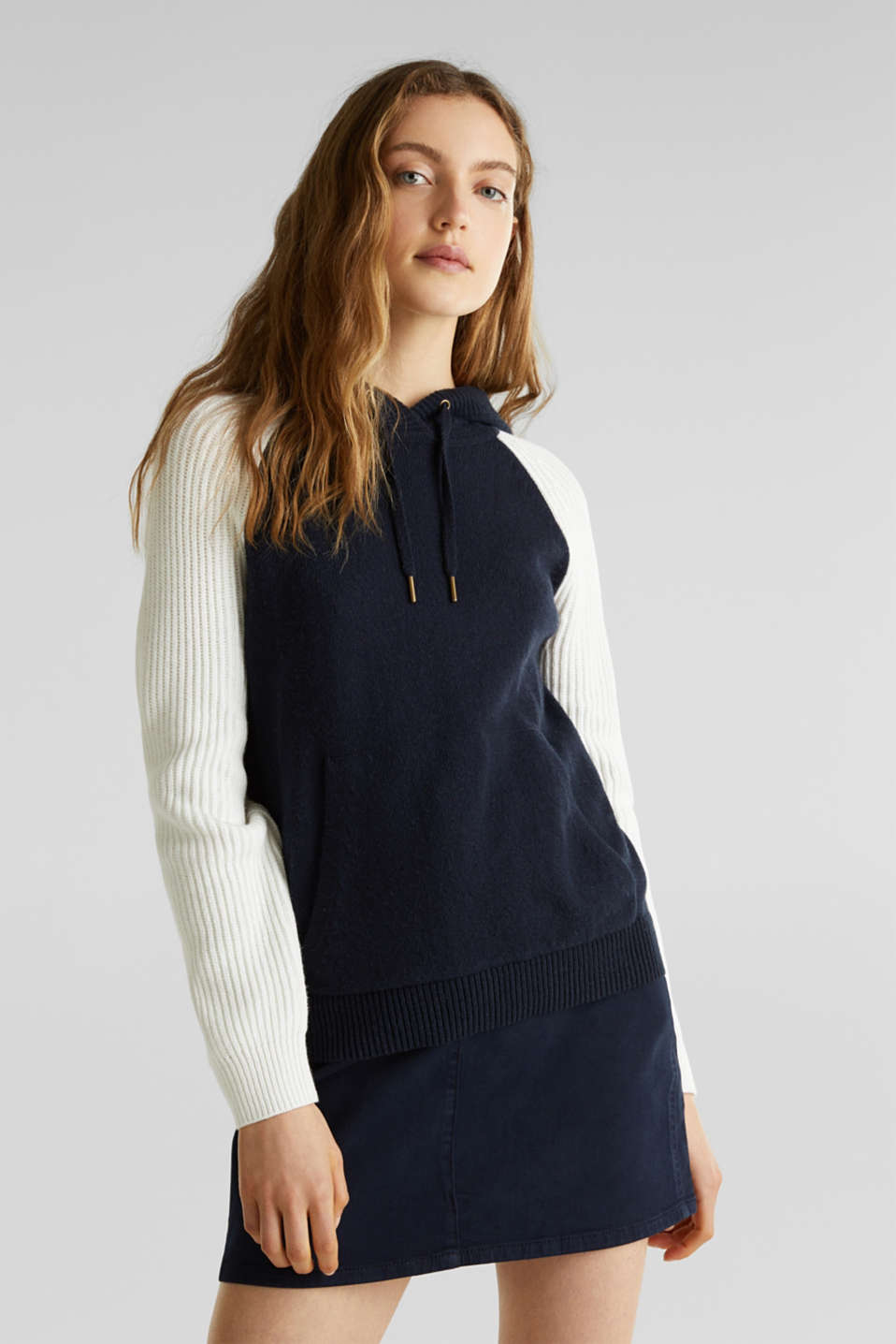 With wool: Colour block knit hoodie