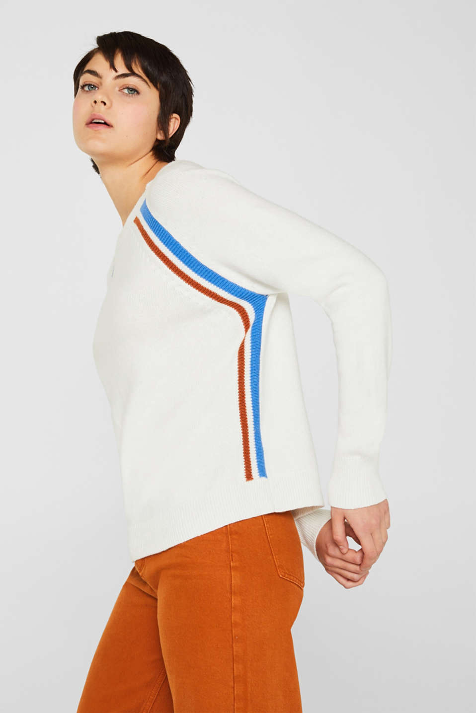 With wool: Stretch jumper with stripes, OFF WHITE 2, detail image number 5