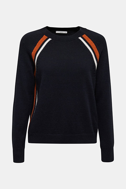With wool: Stretch jumper with stripes