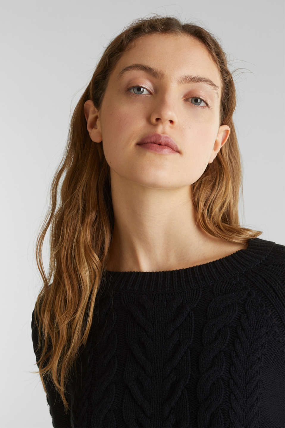 Cable knit jumper, BLACK, detail image number 2