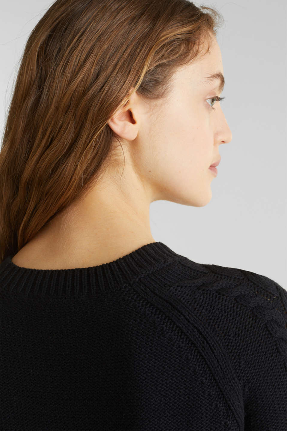 Cable knit jumper, BLACK, detail image number 5