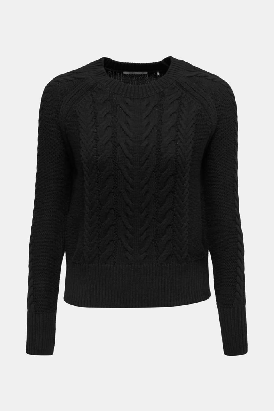 Cable knit jumper, BLACK, detail image number 7