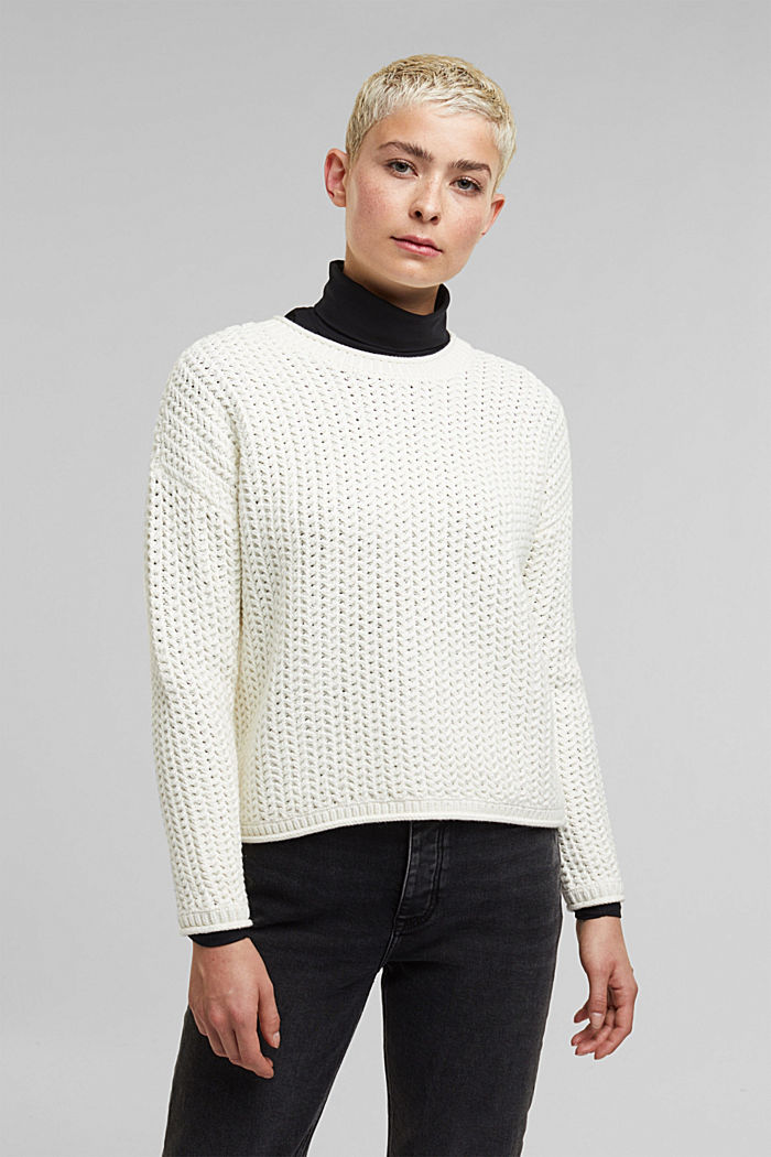 Boxy chunky knit jumper, OFF WHITE, detail image number 0