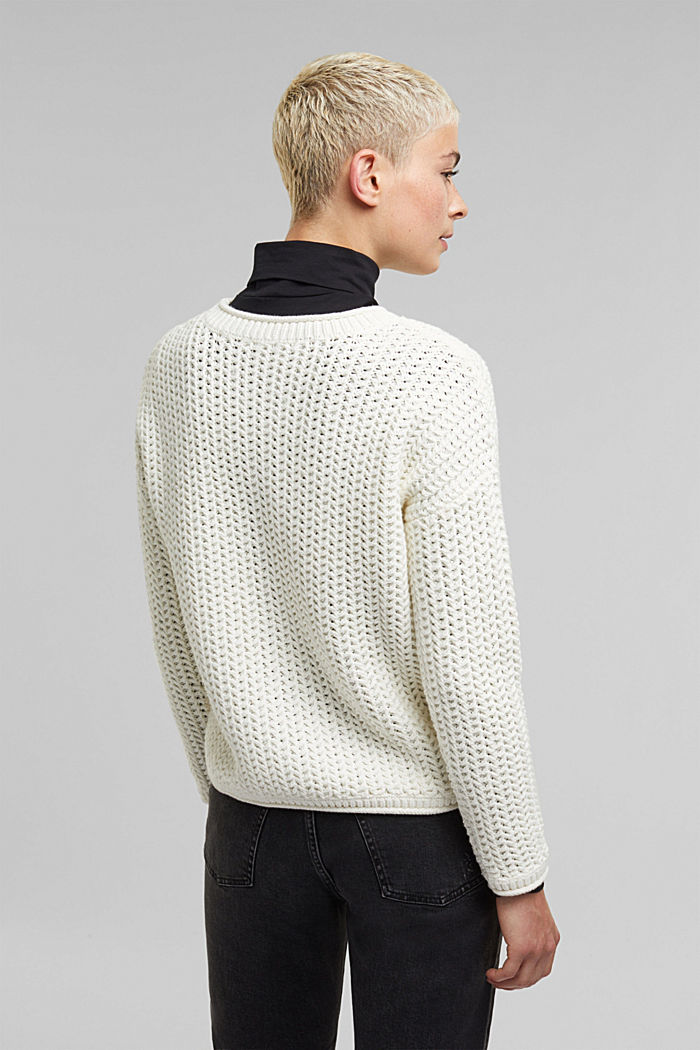 Boxy chunky knit jumper, OFF WHITE, detail image number 3