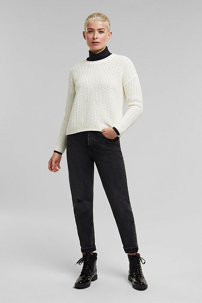 Boxy chunky knit jumper, OFF WHITE, detail image number 1