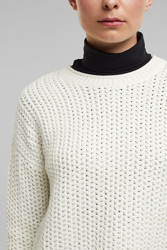 Boxy chunky knit jumper, OFF WHITE, detail image number 2