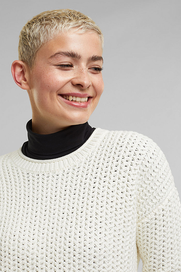 Boxy chunky knit jumper, OFF WHITE, detail image number 5