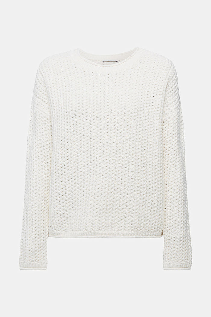 Boxy chunky knit jumper, OFF WHITE, detail image number 6
