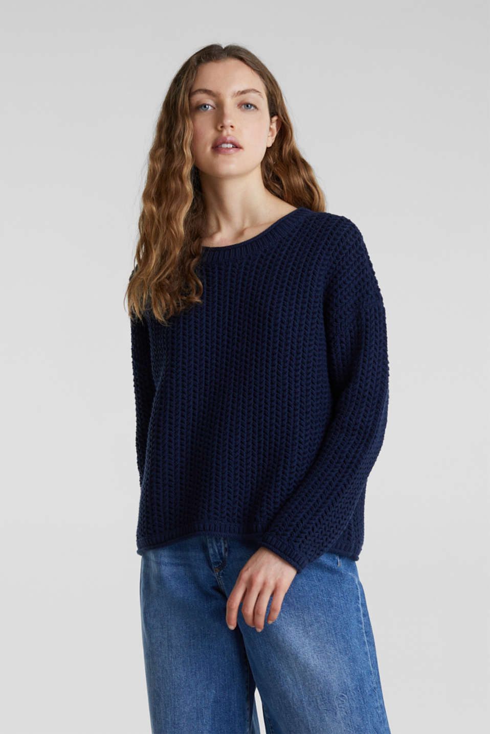 Boxy chunky knit jumper, DARK BLUE 2, detail image number 0