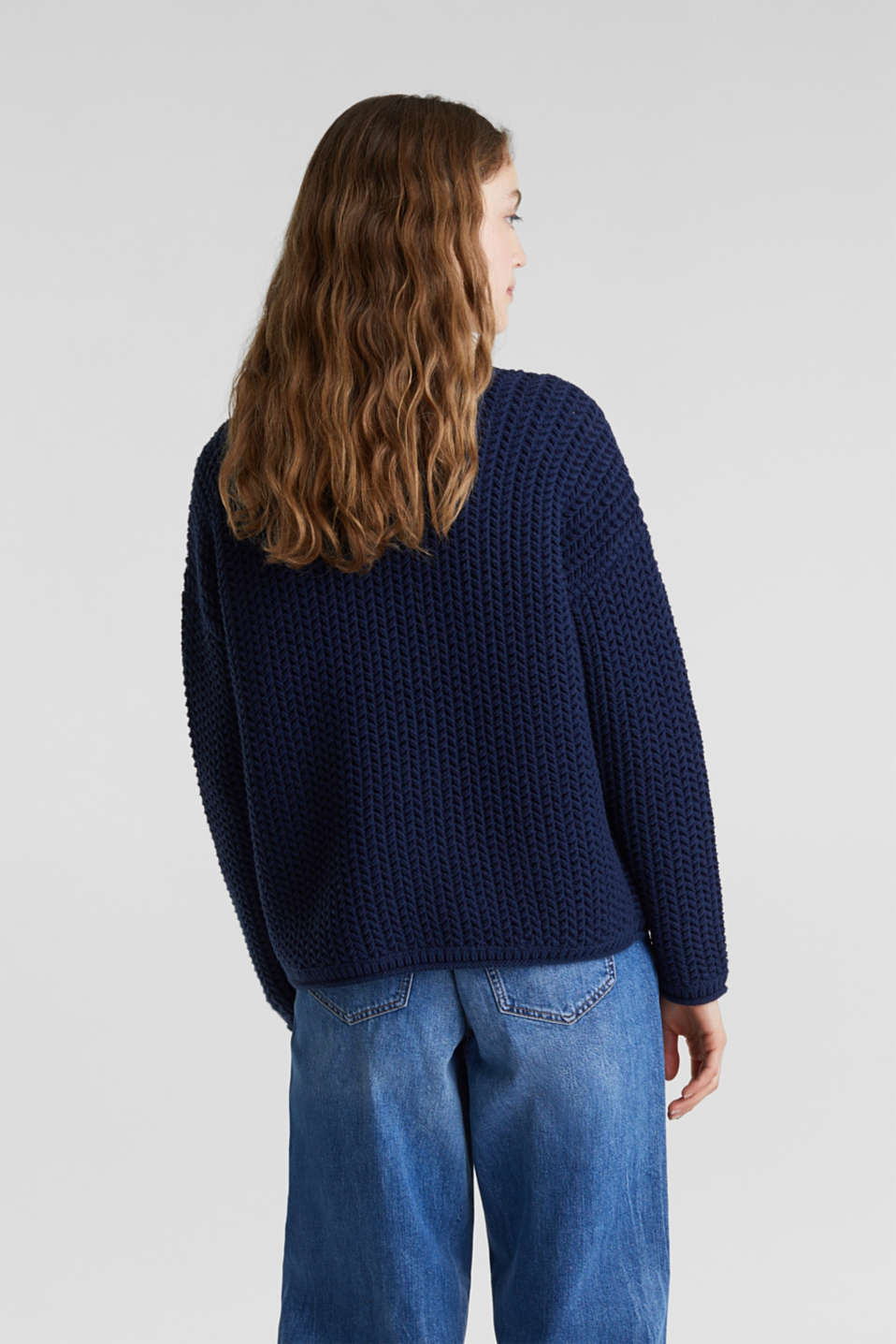 Boxy chunky knit jumper, DARK BLUE 2, detail image number 3