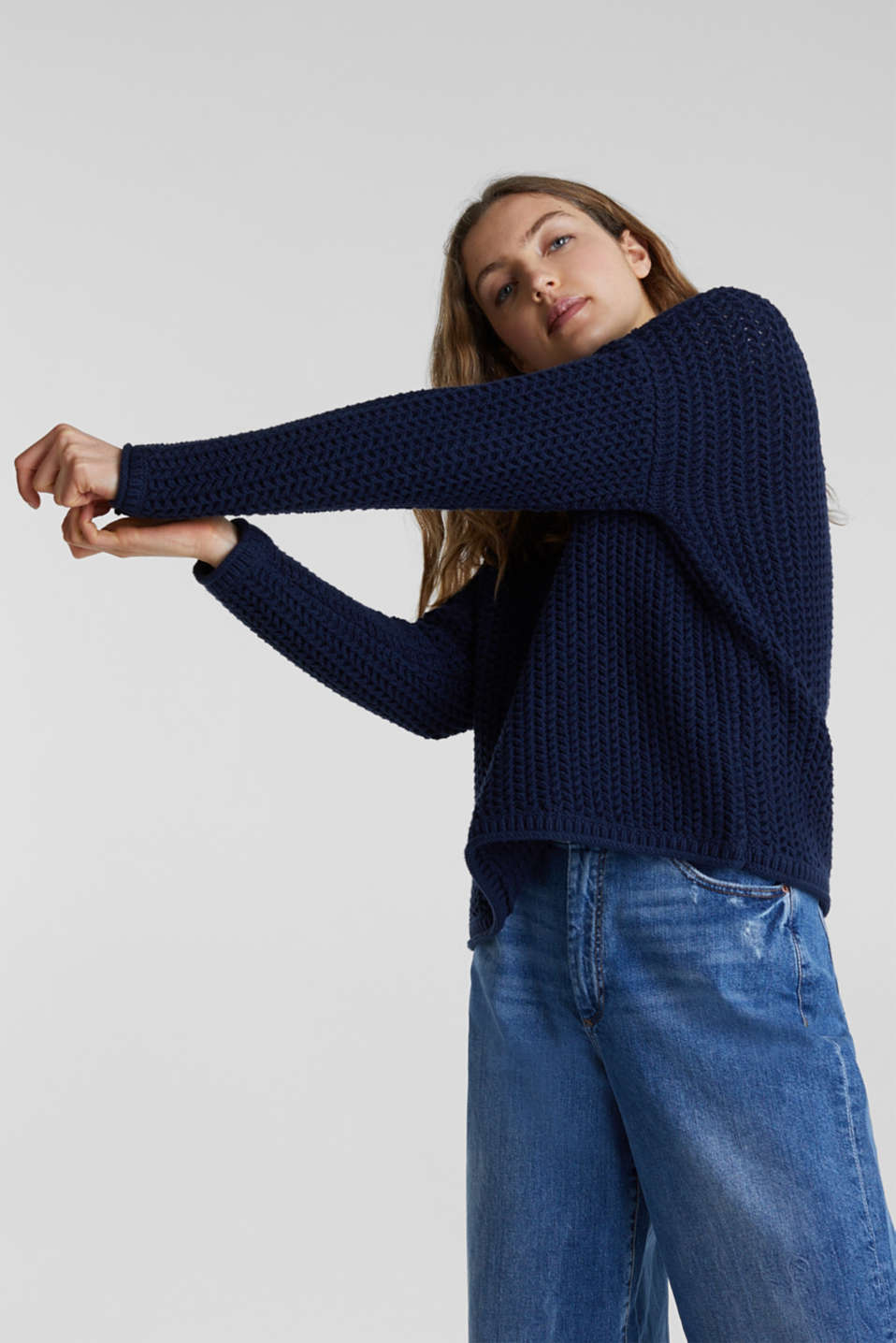 Boxy chunky knit jumper, DARK BLUE 2, detail image number 4