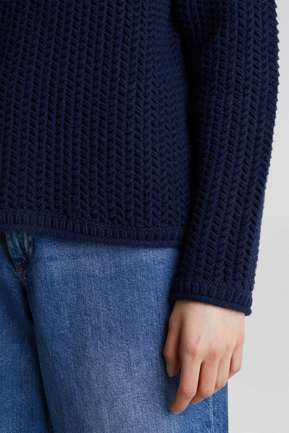 Boxy chunky knit jumper, DARK BLUE 2, detail image number 2
