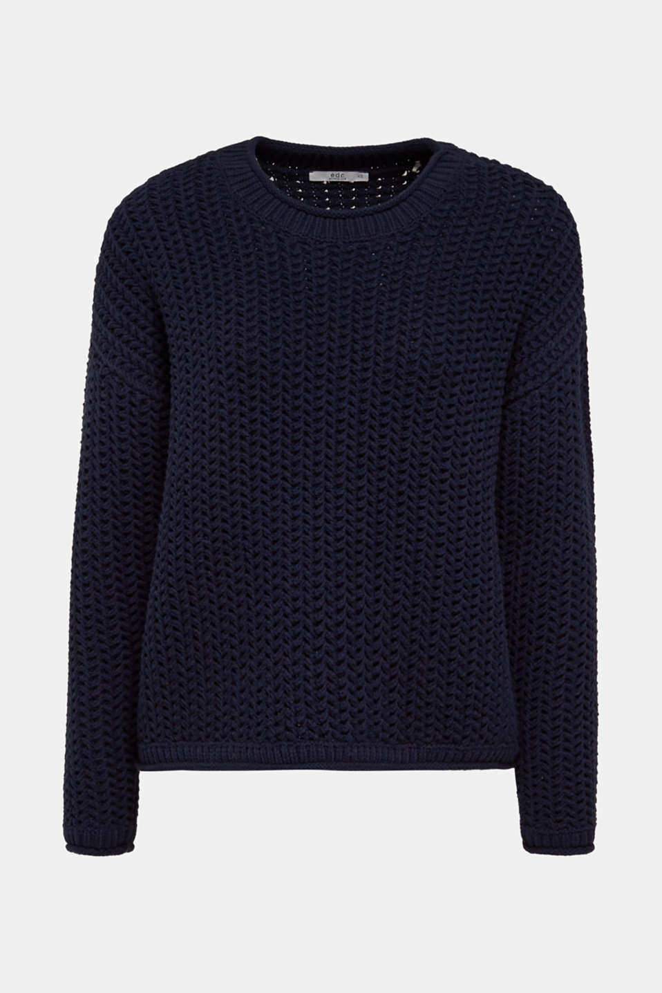 Boxy chunky knit jumper, DARK BLUE 2, detail image number 6