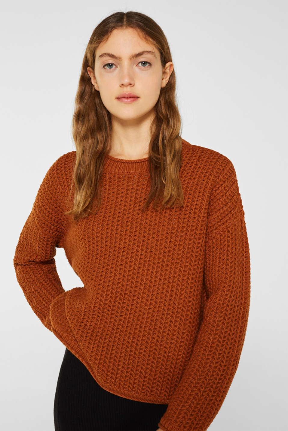 Sweaters, CINNAMON, detail image number 0